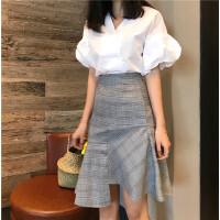 夏季韩版chic高腰修身包臀不规则荷叶边裙摆中裙气质半身裙女新款 格子