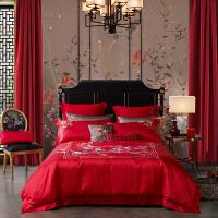 LOVO家纺 提花刺绣婚庆六件套 1.5/1.8米床 中式花嫁床单被套 比翼双飞
