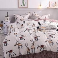 北欧简约卡通棉三四件套清新麋鹿棉被套床笠被套1.8m床品宿舍