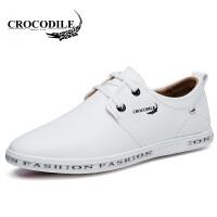 鳄鱼恤休闲鞋潮流休闲皮鞋系带小白鞋低帮鞋舒适男鞋