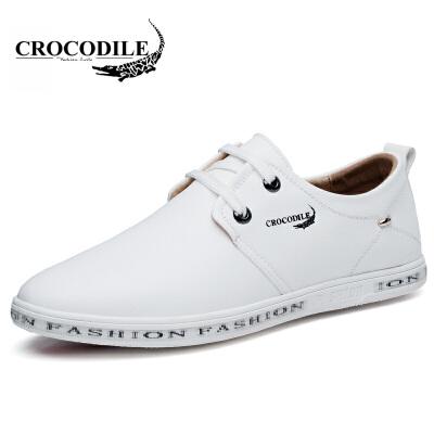 鳄鱼恤休闲鞋潮流休闲皮鞋系带小白鞋低帮鞋舒适男鞋鳄鱼恤男鞋,春款上新,爆款直降