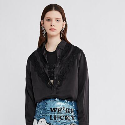 DAZZLE地素 2019春装新款舒适拼接蕾丝桑蚕丝衬衫女2G1C4121A