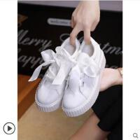 女潮学生韩版百搭丝带小白鞋厚底松糕单鞋网红女鞋子