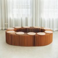【家装节 夏季狂欢】创意家具风琴凳休闲简约折叠纸椅子多人长条凳子伸缩时尚 42CM高棕色凳赠送9个杏色皮垫