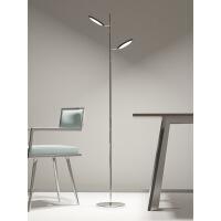 落地灯双头北欧LED简约现代创意圆形双头落地灯 卧室个性床头客厅遥控立式灯