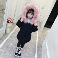 女童棉衣2017新款装中大童外套儿童棉袄宝宝加厚中长款羽绒 黑色 正码