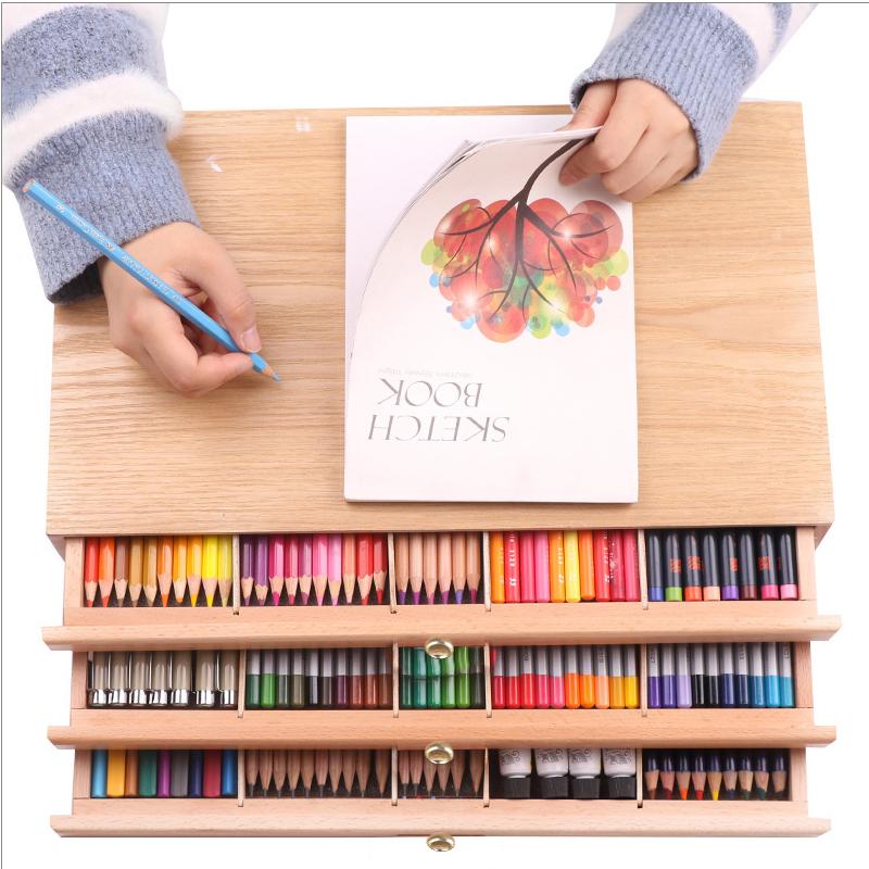 榉木抽屉木质画架画盒桌面油画箱素描彩铅收纳盒画画画板画架套装支架式素描写生画板美术艺考工具 边角全面防护,单画盒,不含笔