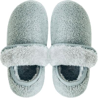 全包跟毛绒冬季男女棉拖鞋保暖情侣儿童家居家用产后月子室内防滑