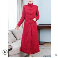中国风棉服女新款冬季中长款修身棉袄复古盘扣棉衣外套女加厚
