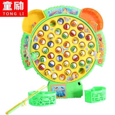 大号鱼盘小猫钓鱼玩具儿童钓鱼玩具池套装智力玩具宝宝玩具1-3岁 45条鱼 大号鱼盘 亲子互动游戏 电动带音乐