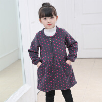 韩版女童秋反穿衣儿童羽绒服罩衣长袖围裙护衣围兜时尚加厚加绒