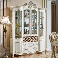 欧式酒柜客厅餐厅法式四门酒柜玻璃隔断装饰柜白色红酒柜展示 4门