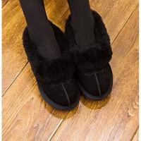 天天皮毛一体豆豆鞋女短筒雪地靴低帮冬季棉鞋孕妇鞋加绒棉瓢