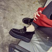 厚底雪地靴女冬短筒韩版2018新款加绒内增高毛毛鞋皮毛一体棉鞋子