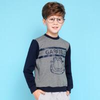 【专区49元2件】加菲猫童装春装男童儿童运动撞色植绒卫衣GGW17443