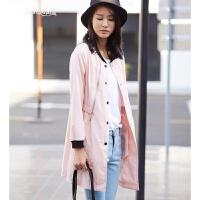 春装新款韩版女士风衣宽松休闲薄款长袖外套女中长款 淡粉色 XL