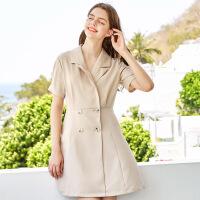 秋水伊人连衣裙2020夏装新款女装西装领短袖通勤修身法式裙子女
