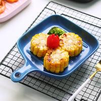 带手柄的北欧早餐烧烤盘子陶瓷长方形大号网红西餐碟家用烘焙菜盘