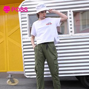 PASS短袖女2018新款夏装字母印花白色t恤短款宽松百搭学生上衣潮