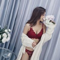 性感红色内衣套装本命年女无钢圈小胸加厚聚拢文胸