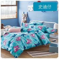 君别卡通四件套宿舍1.5m床笠床单被套1.2儿童床上用品三件套4 天蓝色 新品 史迪仔 1.8m(6英尺)床 床单式