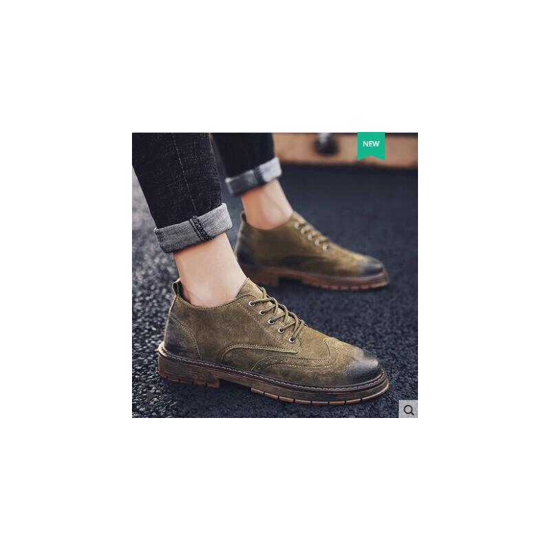 鞋子男潮鞋韩版男士休闲鞋靴布洛克皮鞋男英伦复古马丁鞋男鞋网红时尚防滑户外新品 品质保证 售后无忧