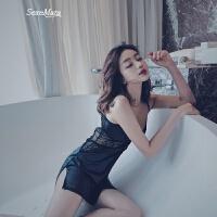 性感蕾丝吊带睡衣女夏镂空美背修身显瘦家居服纯色T裤薄款睡裙 黑色