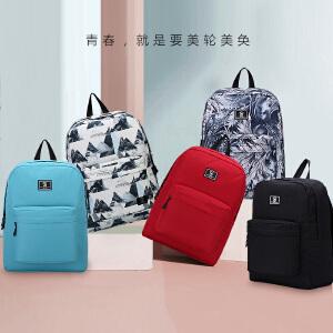 爱华仕双肩包女印花校园书包时尚休闲旅行背包潮韩版学生