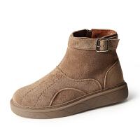 2018冬季新款雪地靴女短靴短筒韩版加绒加厚保暖棉鞋平底防滑女靴 卡其色