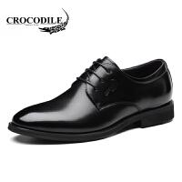 鳄鱼恤皮鞋系带商务正装鞋头层牛皮尖头鞋纯色婚鞋舒适男鞋