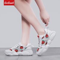 【满100减50/满200减100】Coolmuch女跑鞋2019新款轻便透气草莓鞋校园女生运动休闲慢跑鞋YM88-8