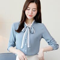 雪纺衫 女士V领蝴蝶结系带拼接长袖开衫2019年秋季新款韩版时尚女式职业女装衬衫