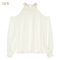【3折到手价:72元】爱客2019夏季 白色法式小众设计感露肩长袖雪纺衫宽松上衣女
