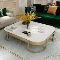 大理石北欧后现代轻奢茶几组合不锈钢简约港式客厅小户型美式家具 组装