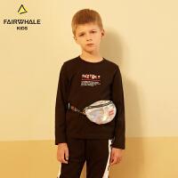 马克华菲童装男女童T恤19春新款字母印花纯棉上衣儿童长袖打底衫