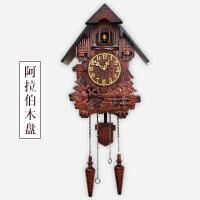 布谷鸟挂钟欧式实木雕刻布谷鸟挂钟儿童房客厅音乐整点报时钟摇摆创意咕咕钟 20英寸