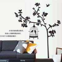 斯图牌 墙贴 客厅卧室背景大面积可移除墙贴 温馨 田园壁纸 墙纸 鸟语花香ST8813