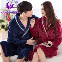 香港康谊睡衣女冬 珊瑚绒新款情侣男士 睡衣睡袍厚款家居服浴袍男