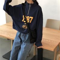 秋季韩国显瘦字母印花休闲卫衣宽松立领拉链长袖套头上衣女装 均码