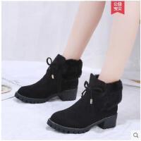 冬季新款ins马丁靴女英伦网红粗跟加绒瘦瘦靴短筒小短靴女鞋
