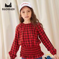 【2件3折:60】巴拉巴拉旗下 巴帝巴帝童装女童红色格子长袖衬衫19春新款儿童复古收腰