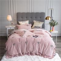 冬天宝宝绒四件套爱心被套法兰绒珊瑚绒裸睡床上用品少女心 2.0m床(适合被芯220*240) 七件套