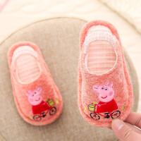 小猪佩奇儿童拖鞋 带跟软底布拖鞋 春秋防滑软底卡通宝宝拖鞋女
