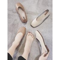 【掌柜推荐】ZHR2019春季新款奶奶鞋懒人鞋女豆豆鞋单鞋粗跟玛丽珍网红小皮鞋
