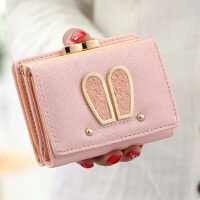 钱包女短款日韩版学生女士钱包女短款兔耳朵钱夹小零钱包女卡包潮
