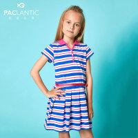 派克兰帝童装短袖连衣裙2017夏季女童色织条纹POLO领短袖连衣裙