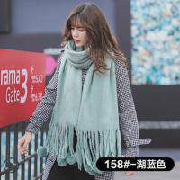 韩版毛线围巾女网红同款时尚加厚长款仿羊绒披肩两用球球保暖围脖韩国户外运动新品