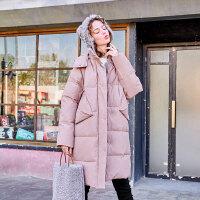 毛菇小象中长款加厚棉衣女宽松时尚保暖棉袄冬季新款学生chic