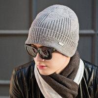 男士帽子时尚韩版青年防风帽骑车纯色包头羊毛保暖护耳毛线帽
