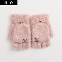 手套女冬天韩版学生翻盖半指冬季露指加厚保暖写字男毛线手套